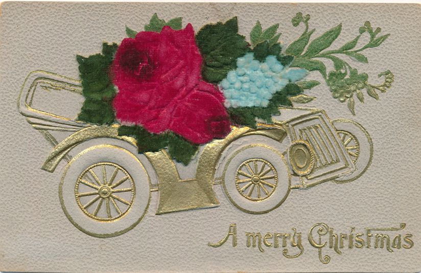 Merry Christmas Greetings - Auto and Flowers - Embossed, Layered, High Relief - Divided Back