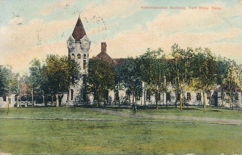 Administration Building at Fort Riley, Kansas - pm 1910 - Divided Back