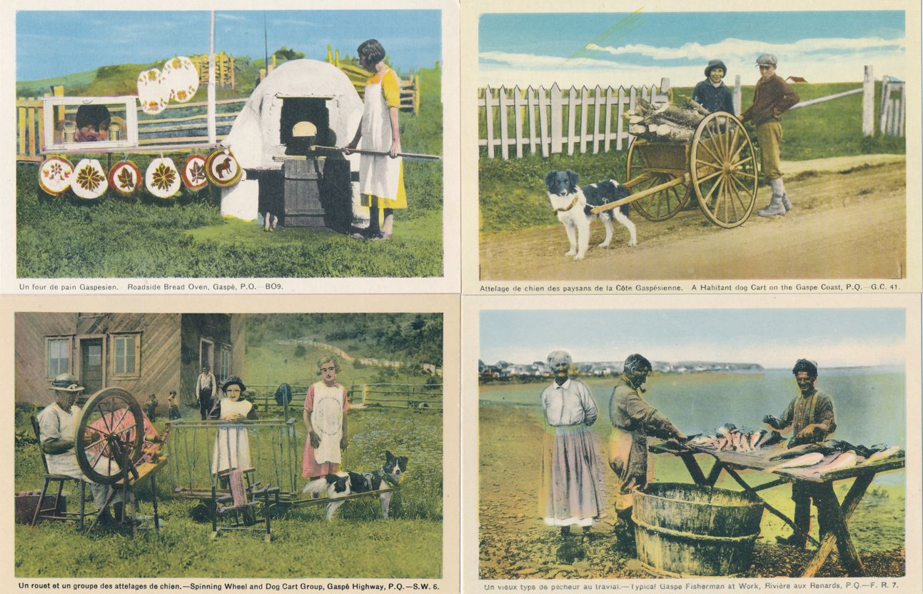 (4 cards) Gaspe, Quebec, Canada - Bread Oven - Dog Cart - Spinning Wheel -Fish - White Border