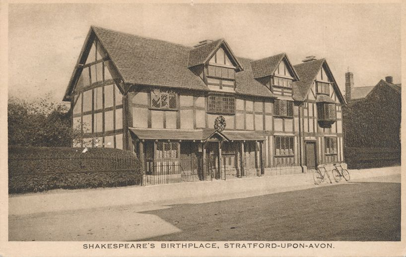 RPPC Shakespeare's Birthplace - Stratford-Upon-Avon, Warwickshire, England - pm 1937 at Rugby Warwickshire UK