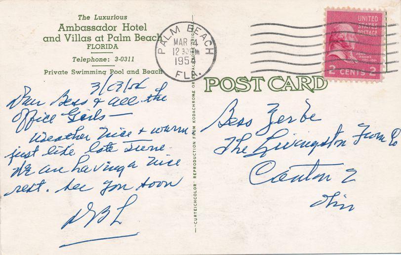 Ambassador Hotel and Villas at Palm Beach, Florida - pm 1954