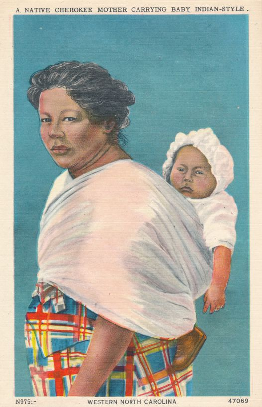 Cherokee Indian Mother with Papoose - Native American Culture - Linen Card