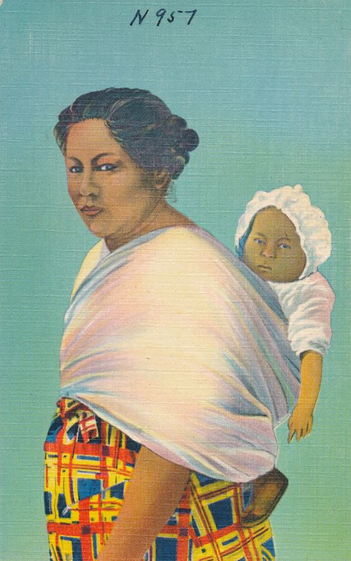 Cherokee Indian Papoose with Mother with Native American Culture - Linen Card