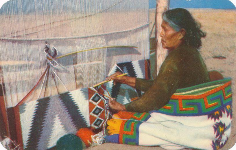 Navajo Rug Weaver - Wool Masterpieces - Native American Culture - Linen Card