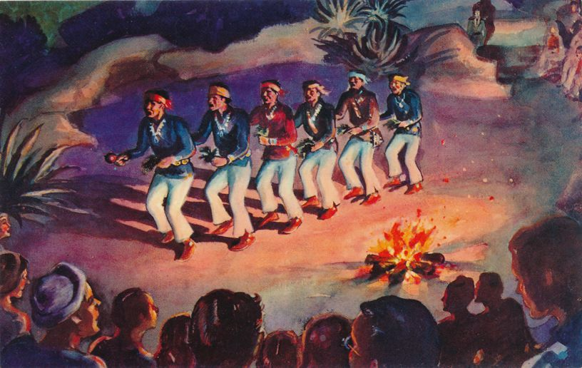 Navajo Indian Yeibichi Dancers - Native American Culture - Artist: Paul Coze