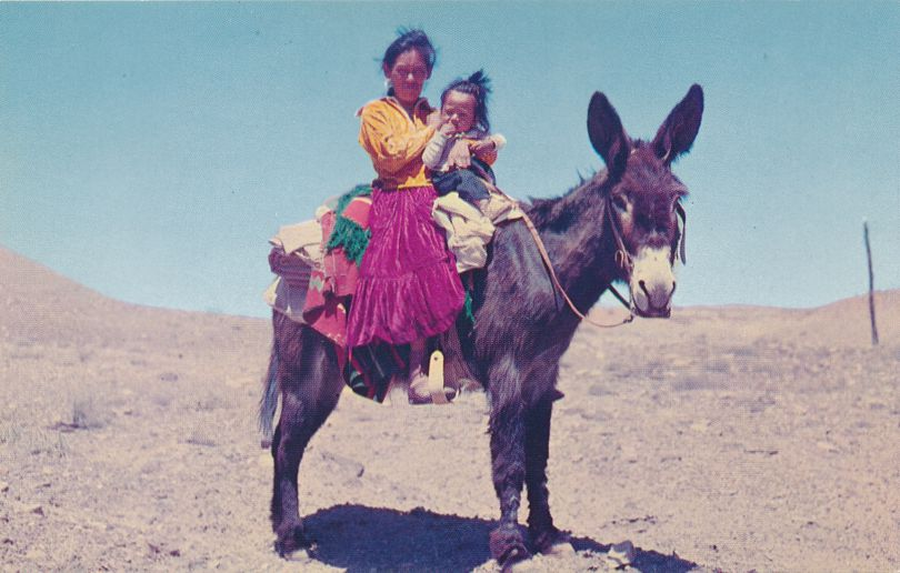 Navajo Indian Mother and Daughter on Burro - Native American Culture