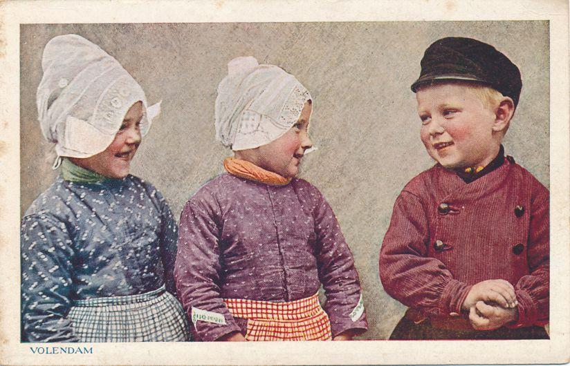 Children of Volendam, Netherlands in Native Costume - Divided Back