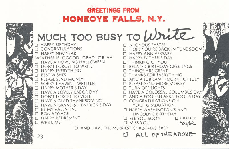 Greetings from Honeoye Falls, New York - Too Busy to Write - Village Print Humor