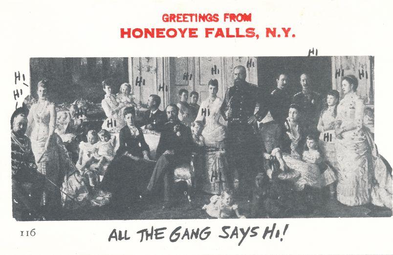 Greetings from Honeoye Falls, New York - The Gang Says Hi! - Village Print Humor