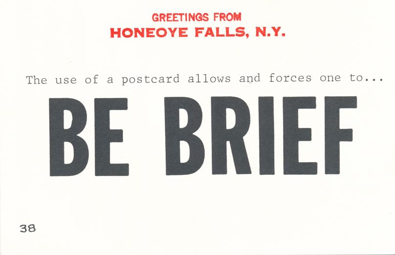 Greetings from Honeoye Falls, New York - Be Brief - Village Print Humor
