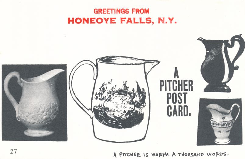 Greetings from Honeoye Falls, New York - Pitcher Post Card - Village Print Humor