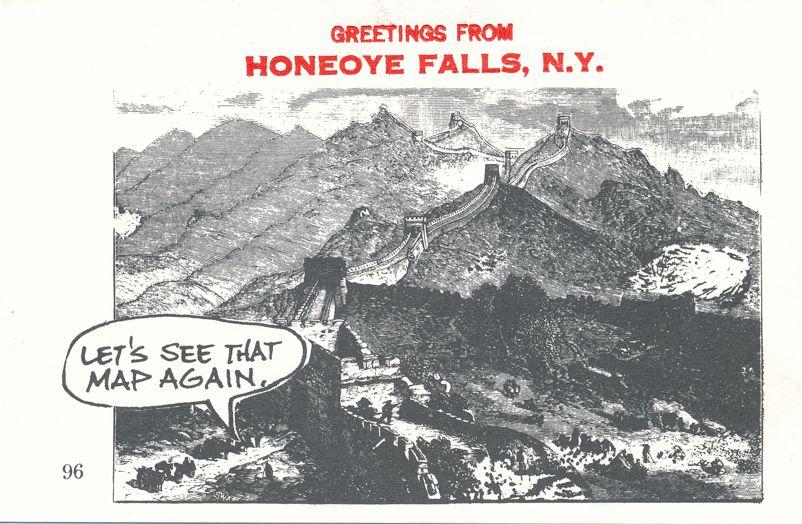 Greetings from Honeoye Falls, New York - Great Wall of China - Village Print Humor