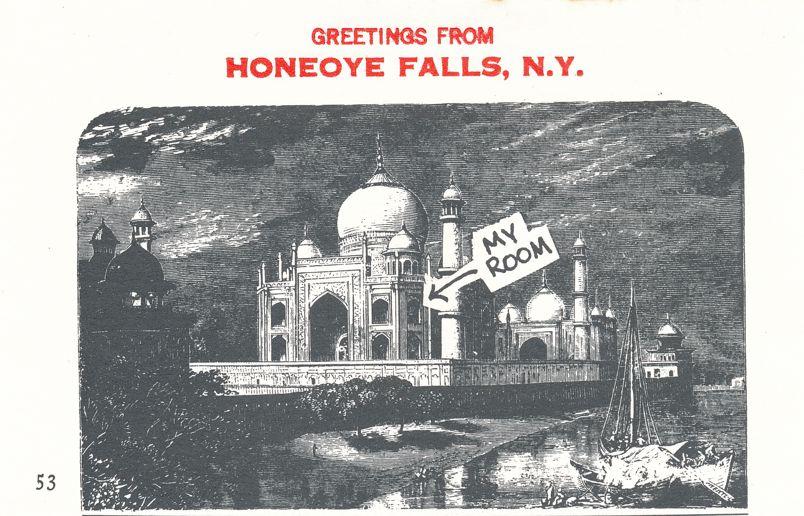 Greetings from Honeoye Falls, New York - Taj Mahal - Village Print Humor