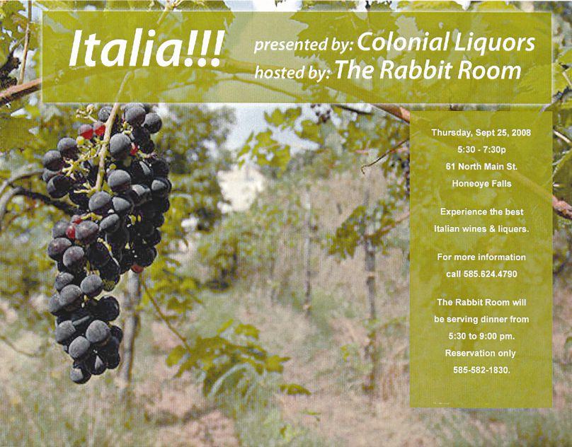 Honeoye Falls, New York - Italia at Rabbit Room Restaurant - Advertising Ephemera