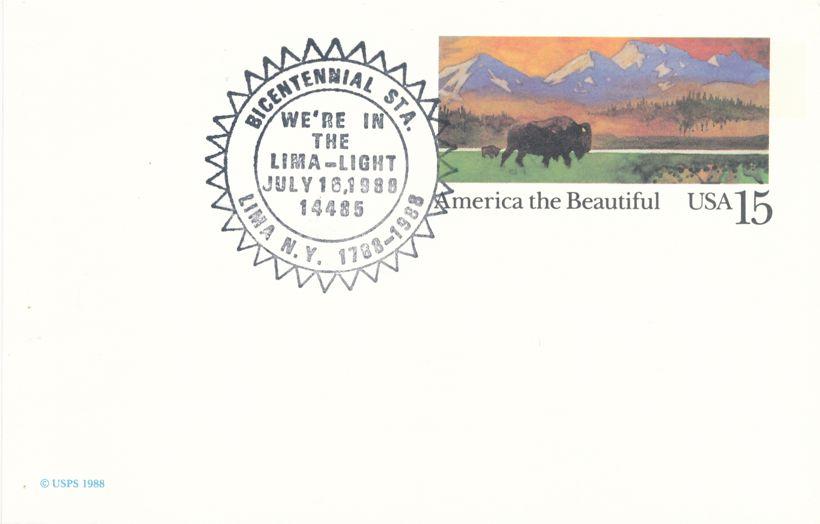 US UX120 Buffalo America the Beautiful - Bicentennial Cancel Lima NY 1988 - pm 1988