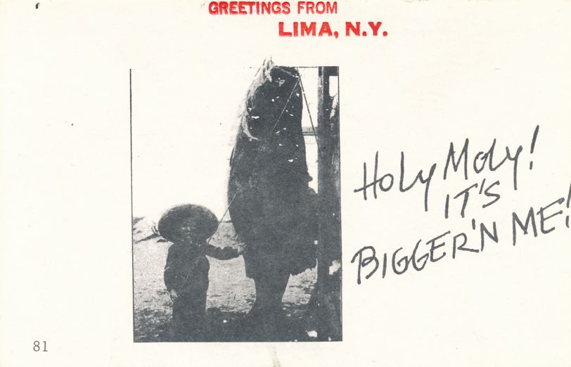 Greetings from Lima, New York - Fish is Bigger than Me - Village Print Humor