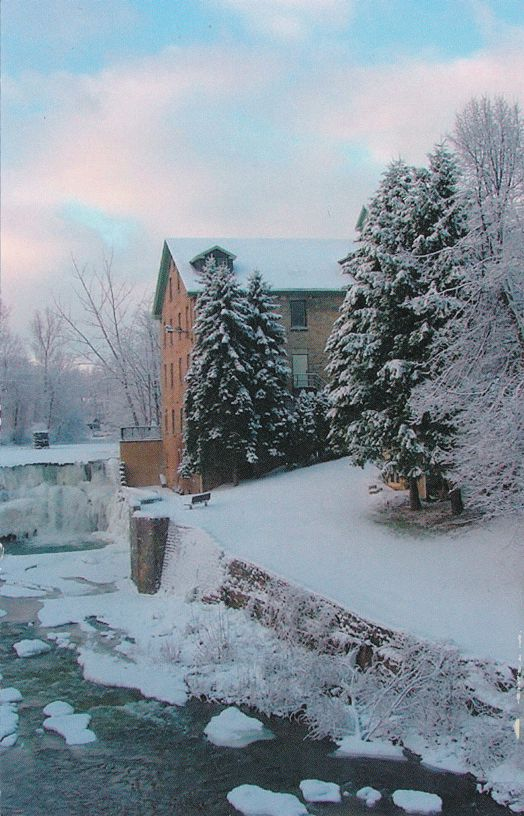 Honeoye Falls, New York - Winter View of Upper Mill