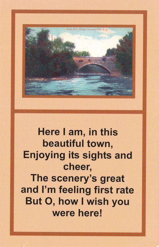 Honeoye Falls, New York - Stone Arch Bridge and Poem