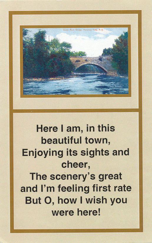 Stone Arch Bridge and Poem - Honeoye Falls, New York