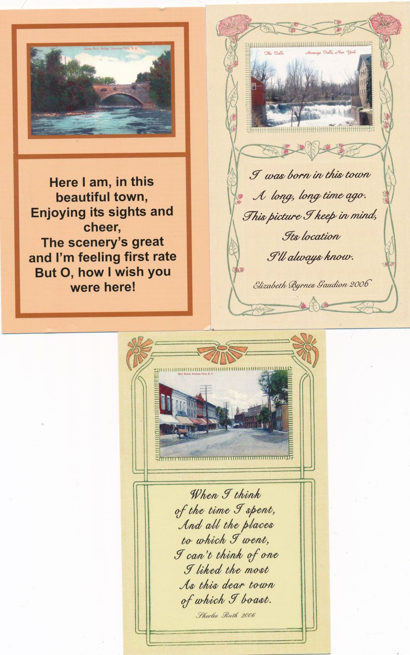 (3 cards) Honeoye Falls, New York - Scenes and Poems