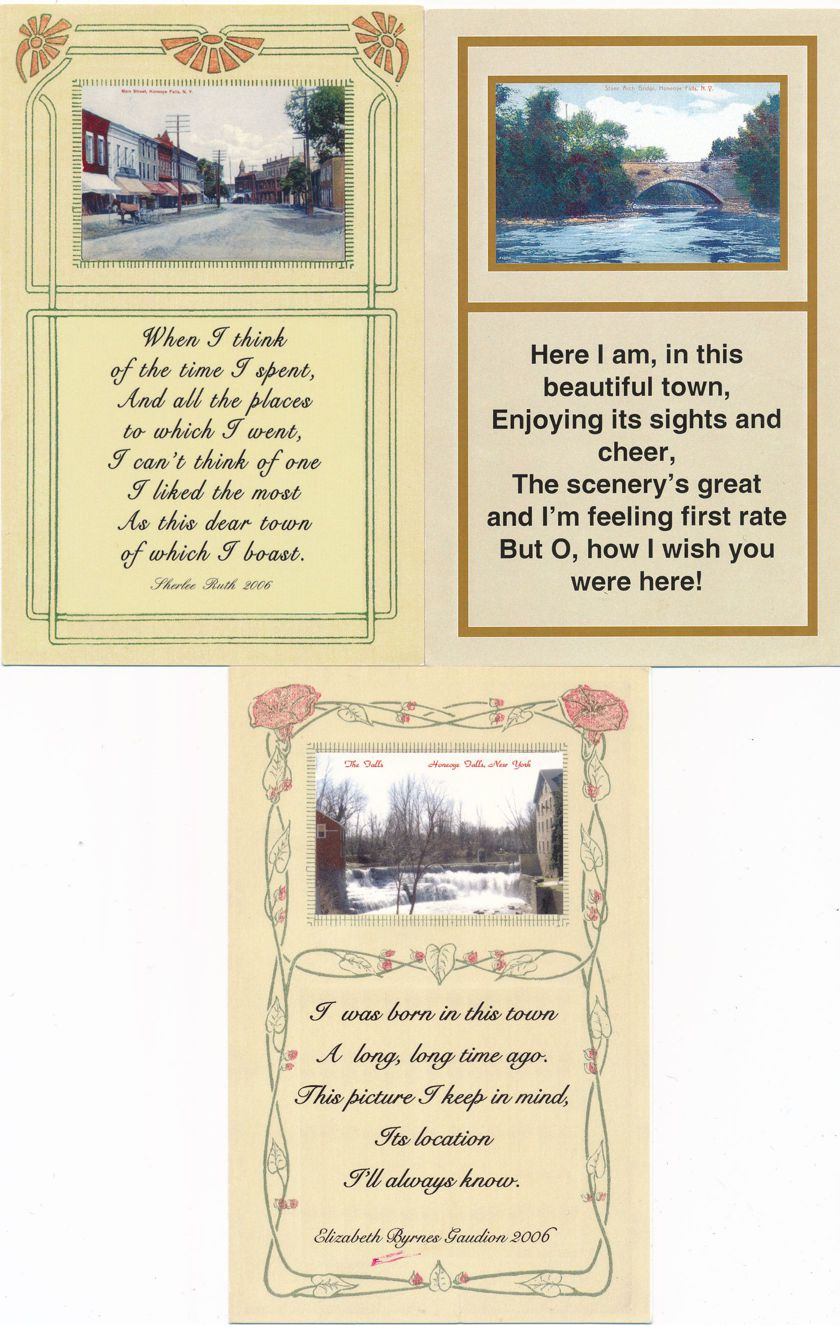 (3 cards) Honeoye Falls, New York - Poems and Scenes