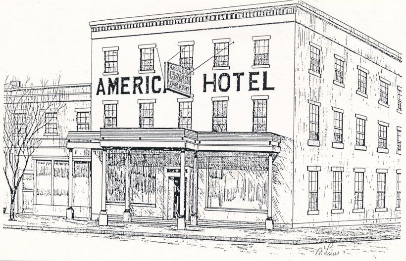 American Hotel Restaurant ca 1861 - Lima, New York - Artist Signed Al Lacey