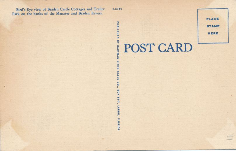 Braden Castle Cottages and Trailer Park - Bradenton, Florida - Roadside - Linen Card