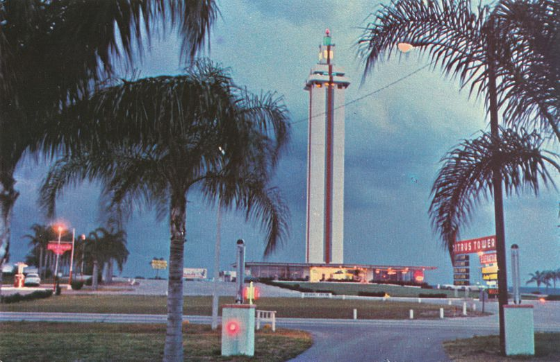 Night View of Famous Citrus Tower - Clermont, Florida - pm 1992 at Tampa FL