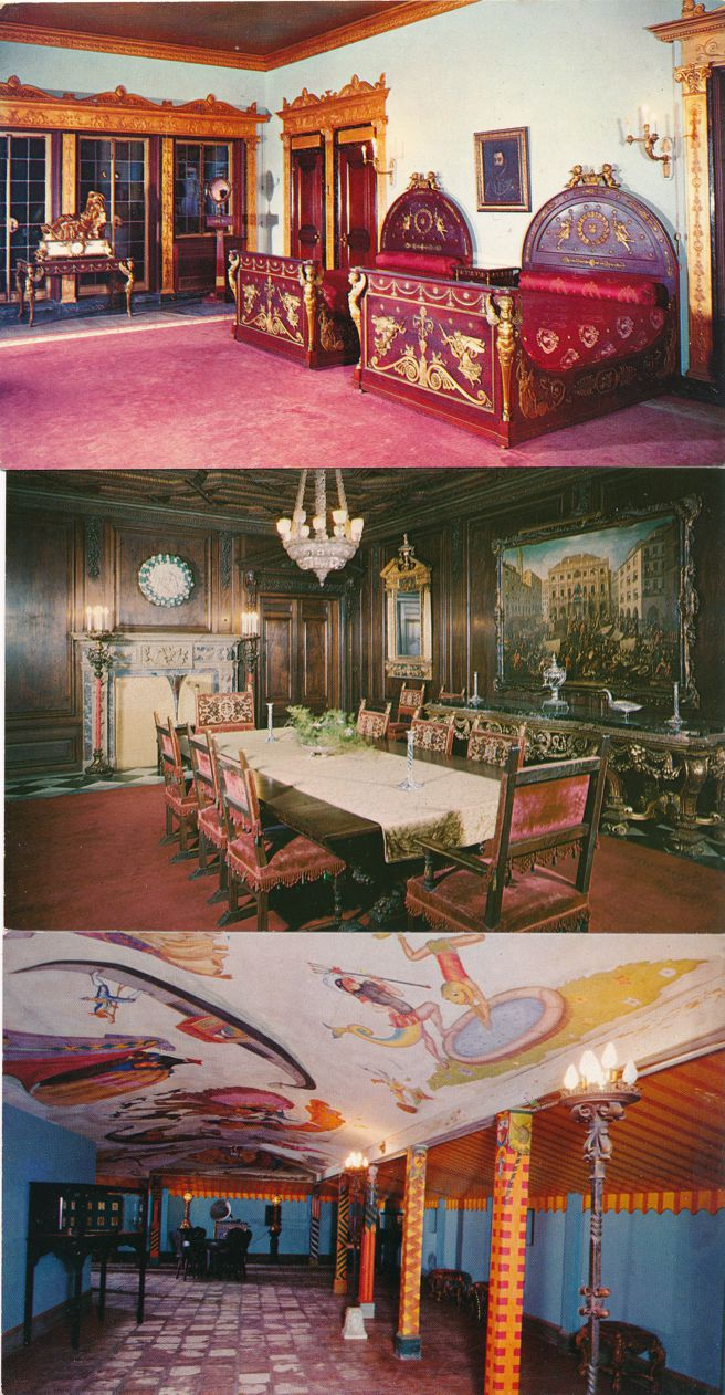 (3 cards) Sarasota, Florida - Ringling Residence - Bedroom, Dining Room, Game Room