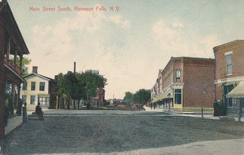 Honeoye Falls, New York - View of Main Street South - Divided Back