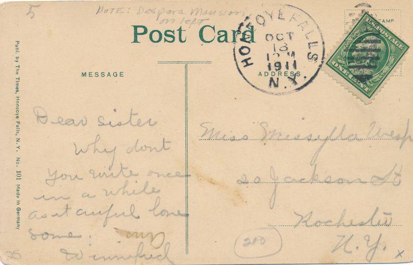 Honeoye Falls, New York - Street Scene (Monroe Street?) - pm 1911 - Divided Back