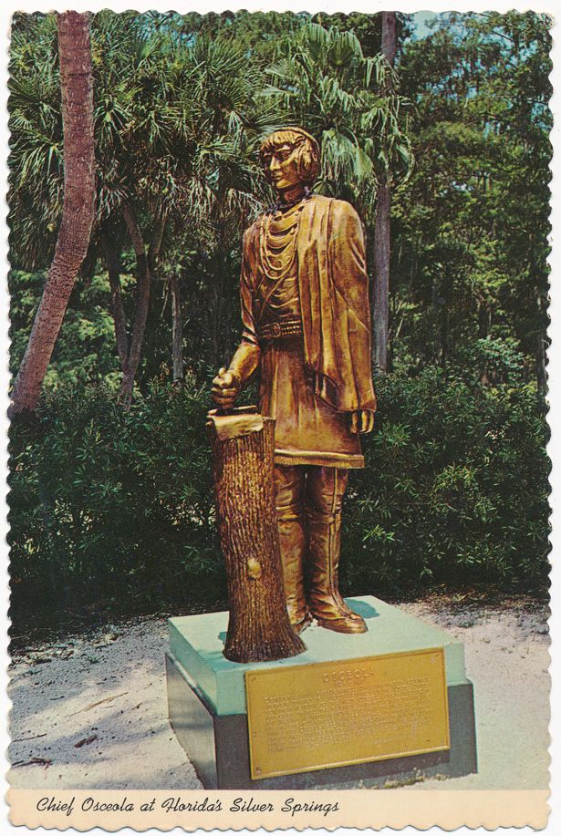 Silver Springs, Florida - Chief Osceola Statue guarding Silver River - pm 1980 at Fort Myers FL
