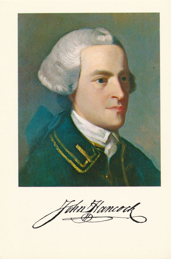 Patriot John Hancock and his famous Signature - Morse Painting in 1816