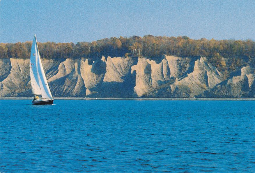 Sailboat at Chimney Bluffs, New York - Lake Ontario near Sodus Bay