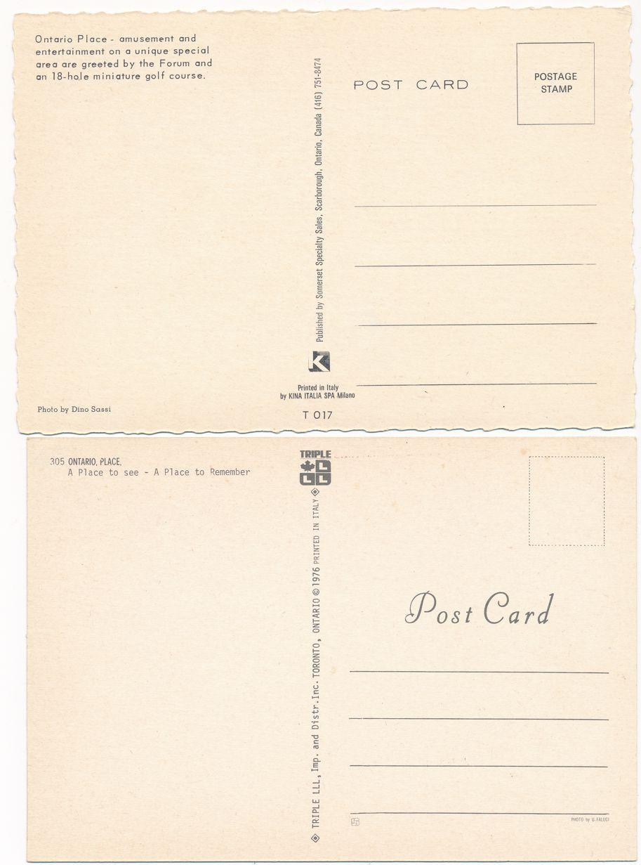 (2 cards) Ontario Place, Toronto, Ontario, Canada