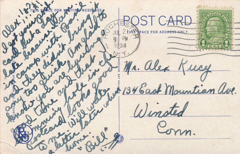 Rochester, New York - The New U. S. Post Office - pm 1934 - White Border
