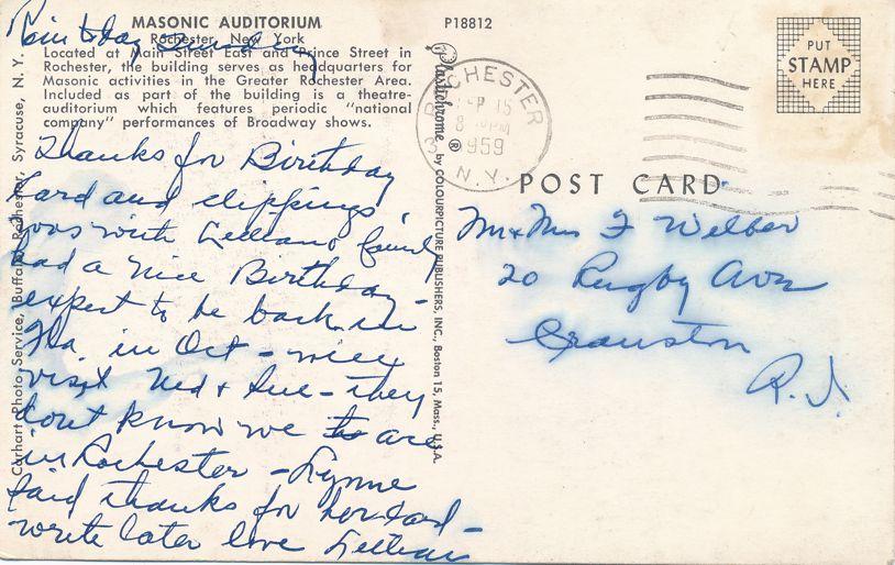 Rochester, New York - Masonic Auditorium and Theater - pm 1959