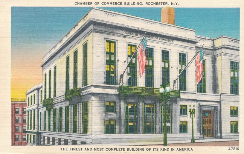 Chamber of Commerce - Rochester, New York - Finest Building of its Kind - pm 1952 - Linen Card