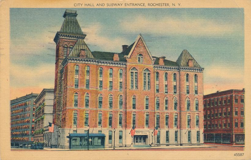 Rochester, New York - City Hall - Note Subway Entrance - Linen Card