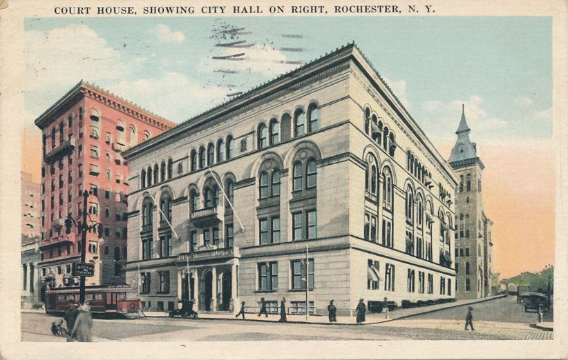 Rochester, New York - Trolley at Court House near City Hall - pm 1924 - White Border