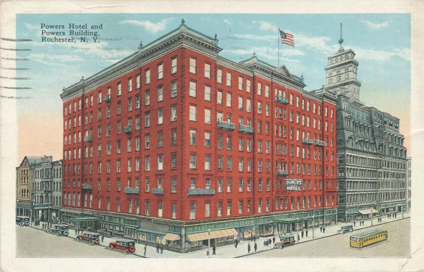 Rochester, New York - Powers Building and Hotel - pm 1928 - White Border