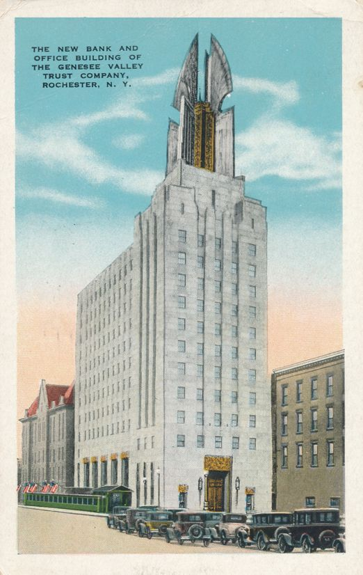 Genesee Valley Trust Bank and Office Building - Rochester, New York - pm 1930 - White Border