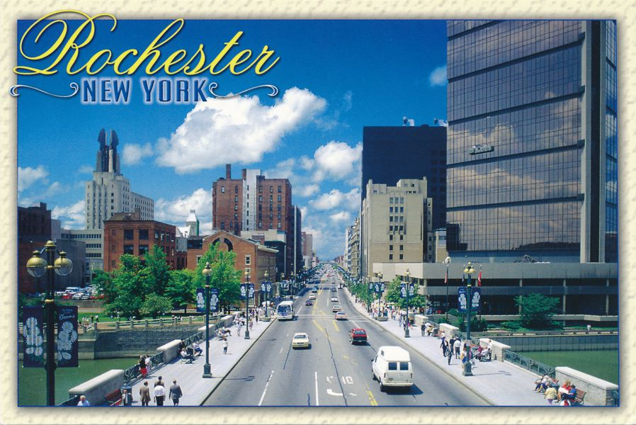 Rochester, New York - Main Street looking West from Genesee River Bridge