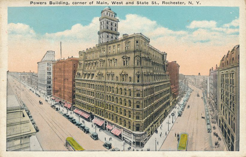 Rochester, New York - Powers Building Corner of West Main and State - White Border