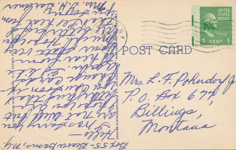 Main Street looking West from East Avenue - Rochester, New York - pm 1949 at Corning NY - Linen Card