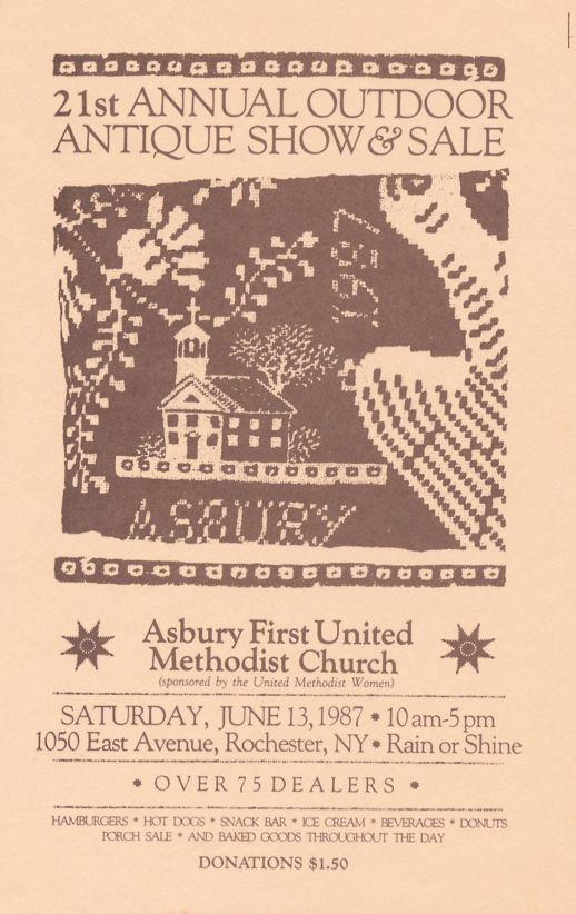 Asbury Methodist Church Antique Show - Rochester, New York - Ephemera Advertising