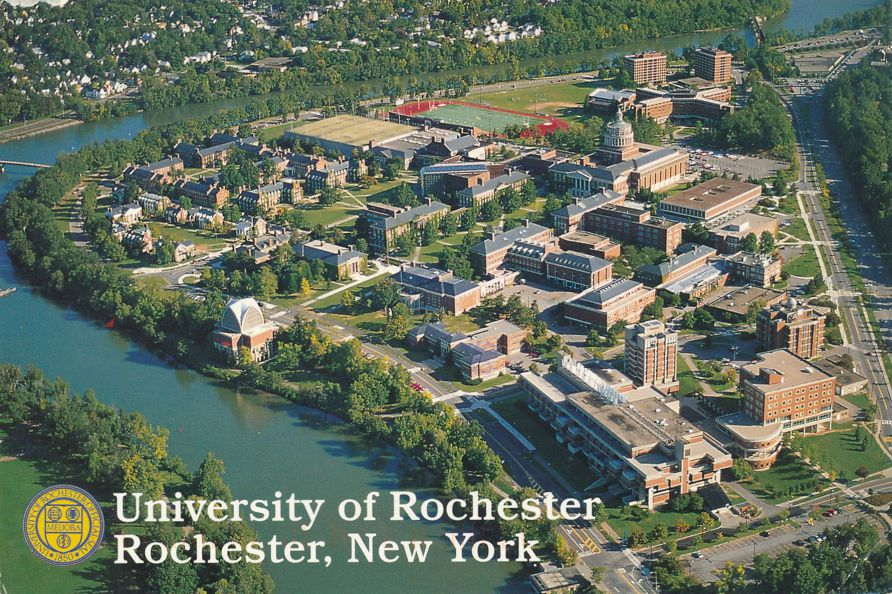 Aerial View of Unirsity of Rochester, New York along the Genesee River - pm 1996