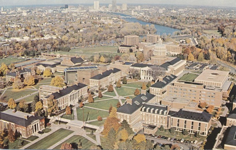 Aerial View of Rush Rhees Library at - University of Rochester, New York