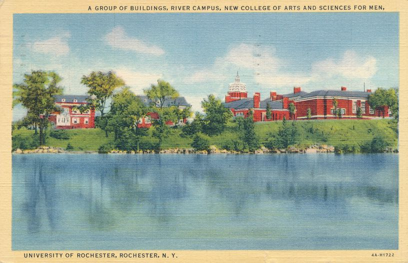 Buildings on Genesee River Campus - University of Rochester, New York - pm 1941 - Linen Card