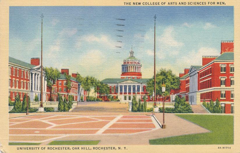 College of Arts and Sciences - University of Rochester, Oak Hill, New York - pm 1944 - Linen Card